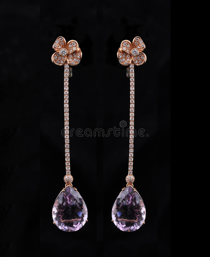 Download Diamond Earings With Reflection Stock Image - Image: 14620273
