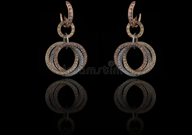 Diamond Earings With Reflection Royalty Free Stock Photography