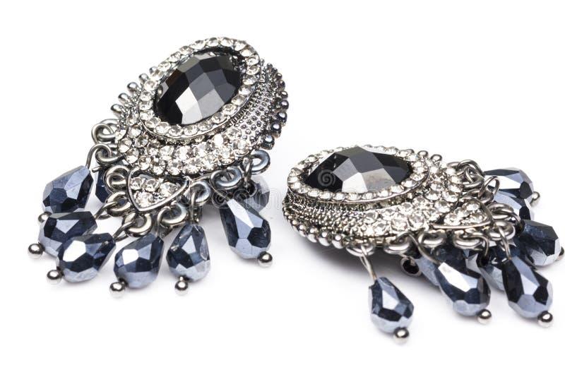 Diamond Earring nero fotografia stock