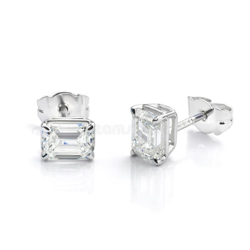 Free Diamond Earrings Emerald Cut Earrings White Gold Stock Image - 173303541