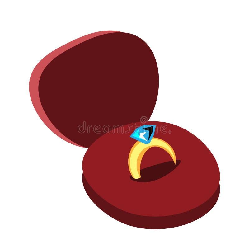 Diamond Engagement Ring dans la boîte illustration libre de droits