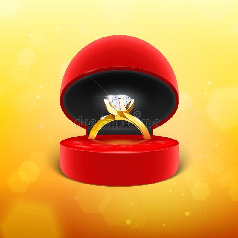 Diamond Engagement Ring en caja ilustración del vector