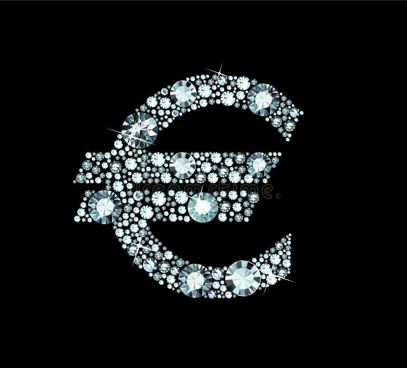Diamond Euro Sign Stock Photography