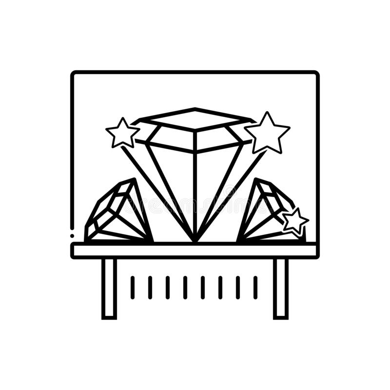 Black line icon for Diamond exhibit, shiner and sparkler. Black line icon for Diamond exhibit, shiner, sparkler, logo, museum and diamond royalty free illustration