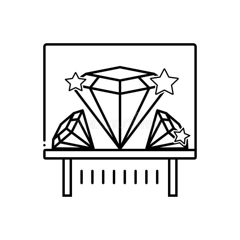 Black line icon for Diamond exhibit, shiner and sparkler. Black line icon for Diamond exhibit, shiner, diamond, museum, and sparkler stock illustration