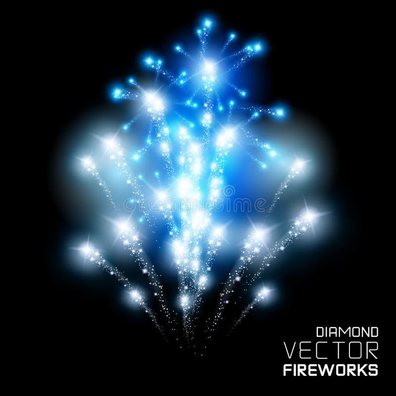 Diamond Firework Display. Beautiful Diamond firework display, vector vector illustration