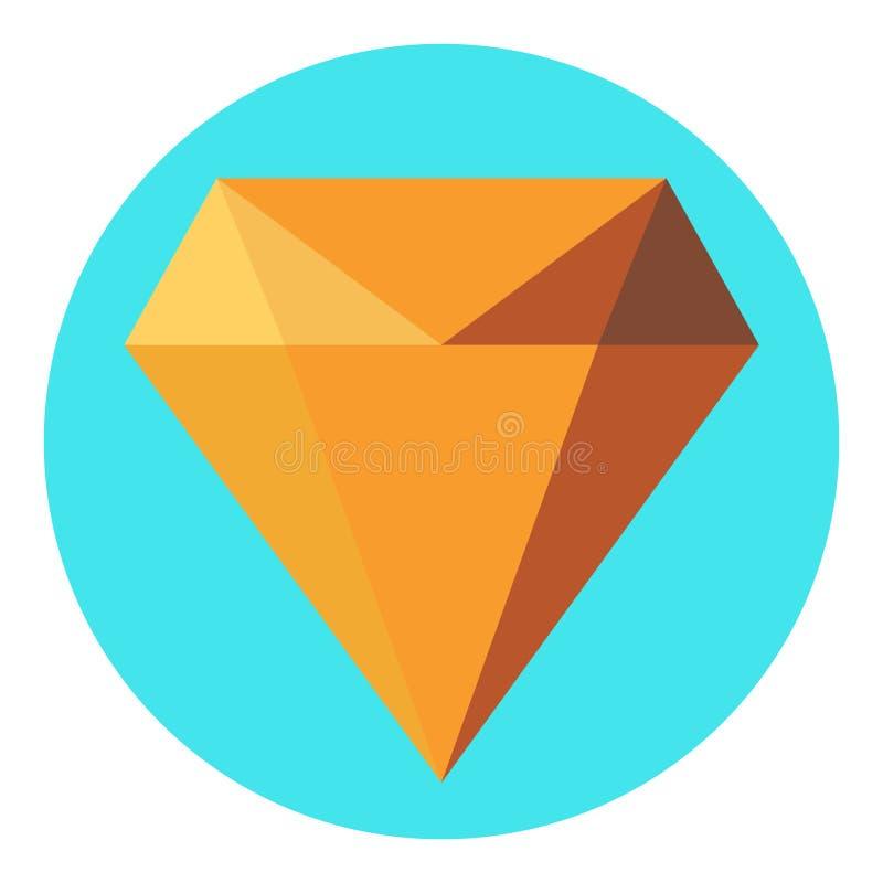 Diamond flat icon  vector. Web symbol. Perfect Black pictogram illustration on white background stock illustration
