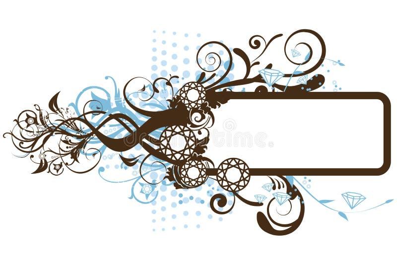 Diamond Floral Frame stock illustration