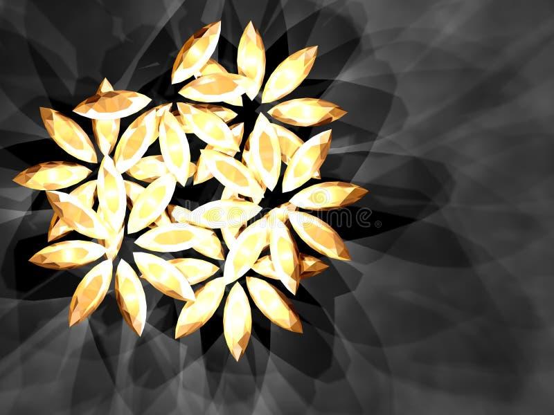 Diamond flower. S on the dark background, shining jewelry. Illustration made on computer royalty free illustration