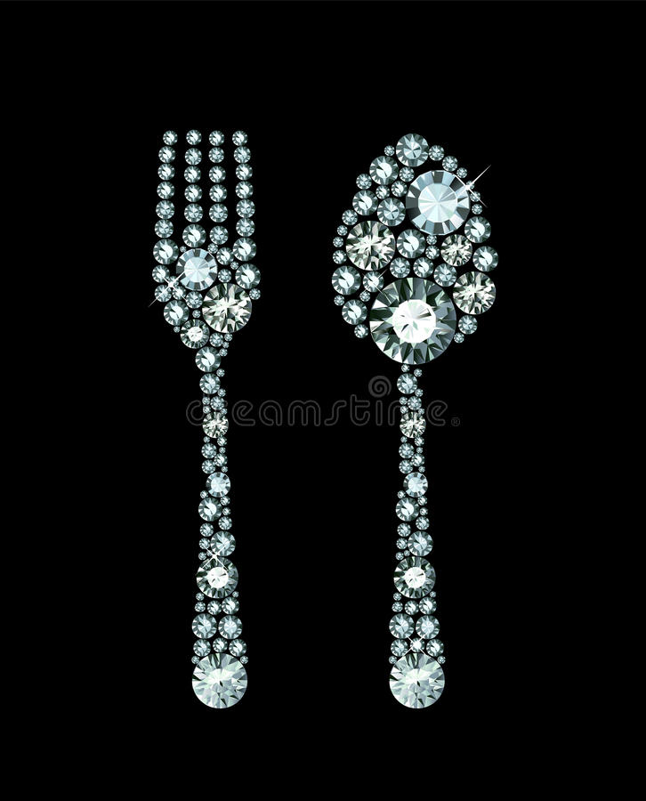 Diamond Fork And Spoon ilustración del vector
