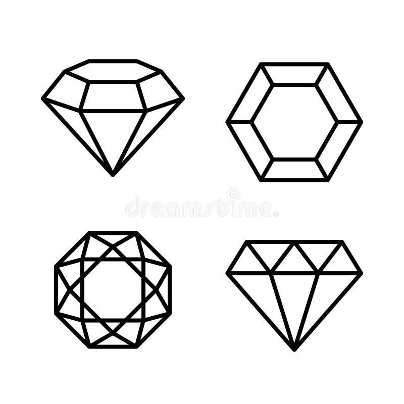 Diamond Gems Icons Set op Witte Achtergrond Vector stock illustratie
