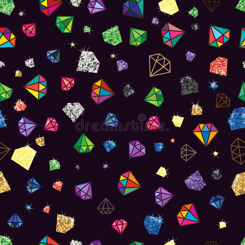 Diamond glitter color shape seamless pattern. Illustration design drawing diamond shape color bright graphic seamless pattern graphic dark color background vector illustration