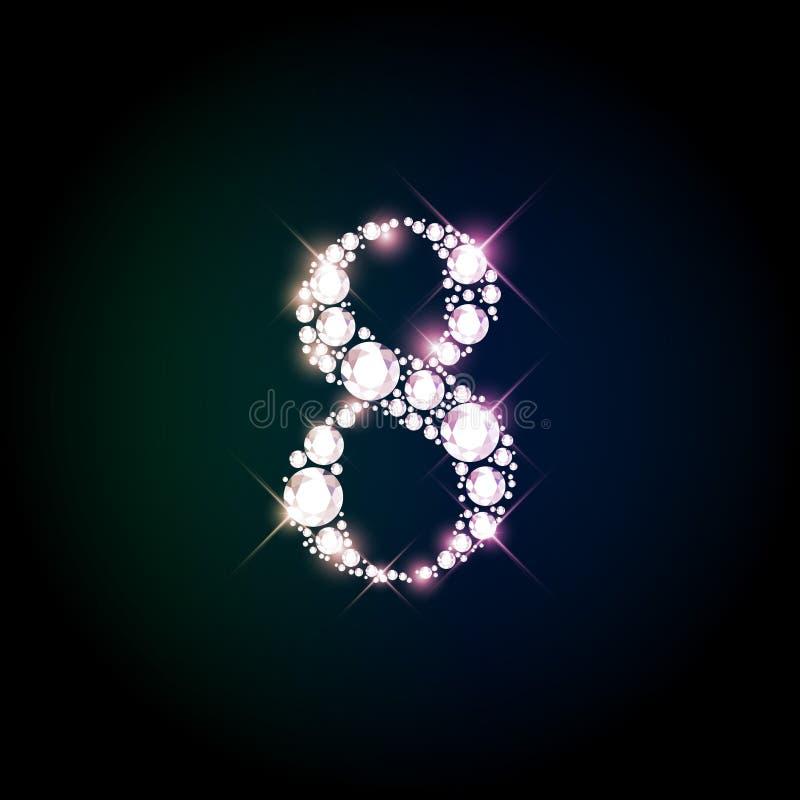 Diamond glittering number eight of sparkling brilliants vector illustration