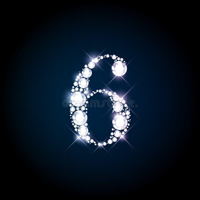 Diamond glittering number six of sparkling brilliants vector illustration