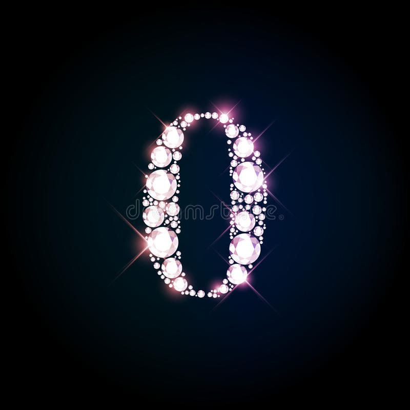 Diamond glittering number zero of sparkling brilliants. vector illustration