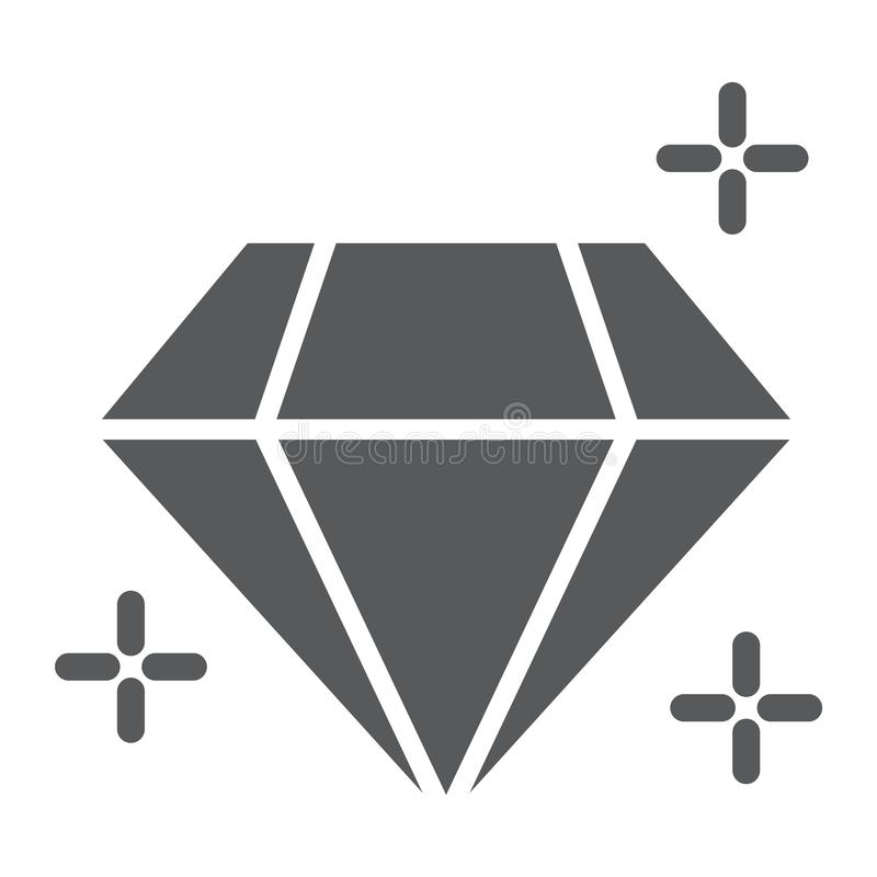 Diamond glyph icon, jewellery and accessory, brilliant sign, vector graphics, a solid pattern on a white background. royalty free illustration