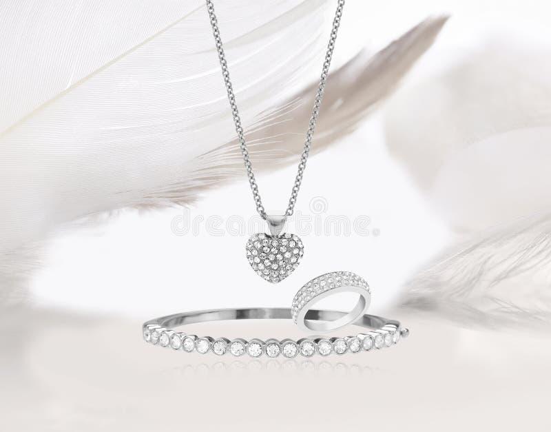 Diamond gold jewelry set stock images