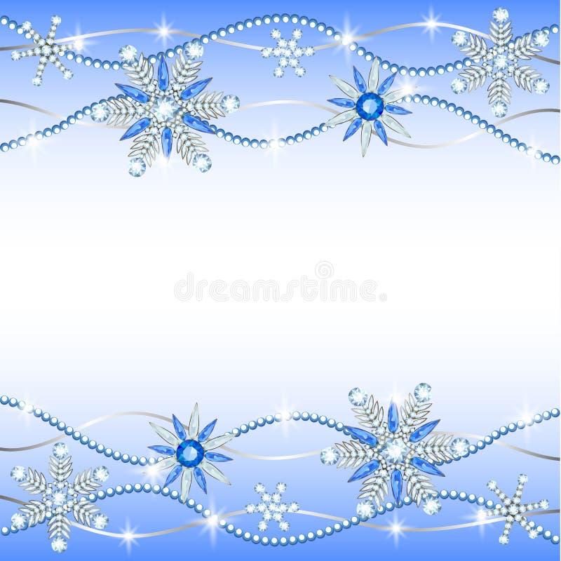 Diamond hanging snowflakes. On blueand white background royalty free illustration