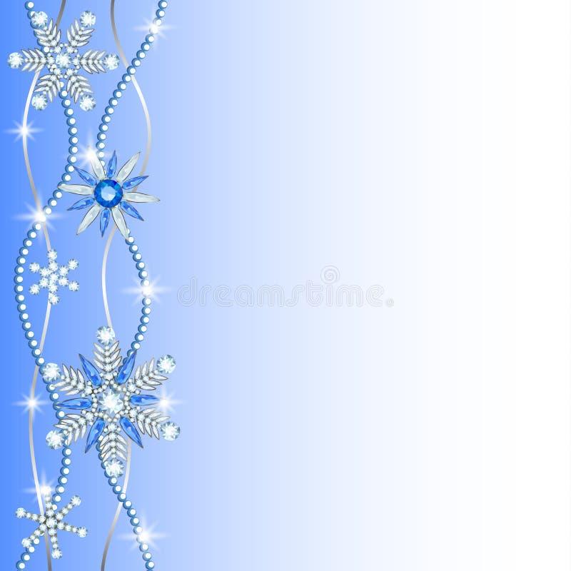 Diamond hanging snowflakes. Diamond snowflakes border on blue and white background stock illustration
