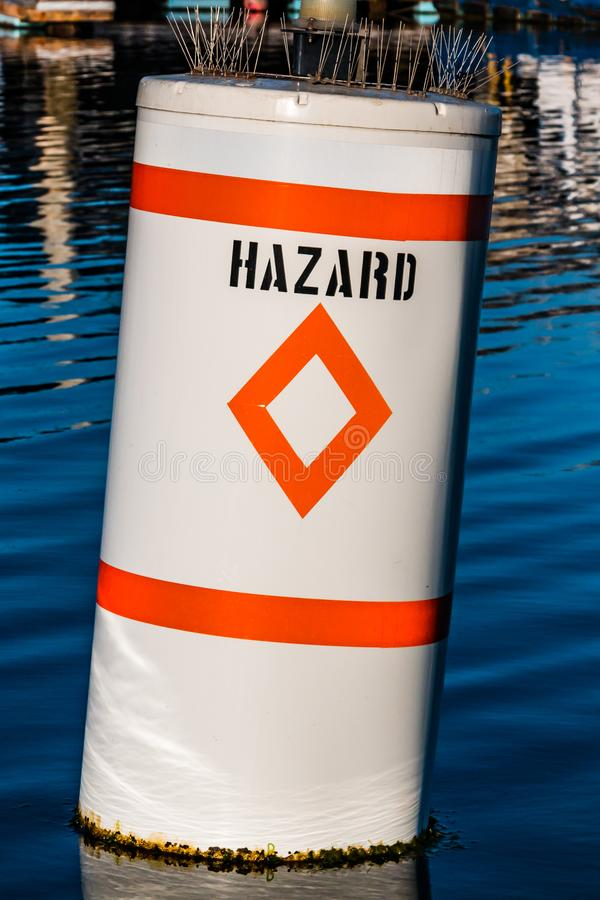 Diamond Hazard Warning Buoy maritime images libres de droits