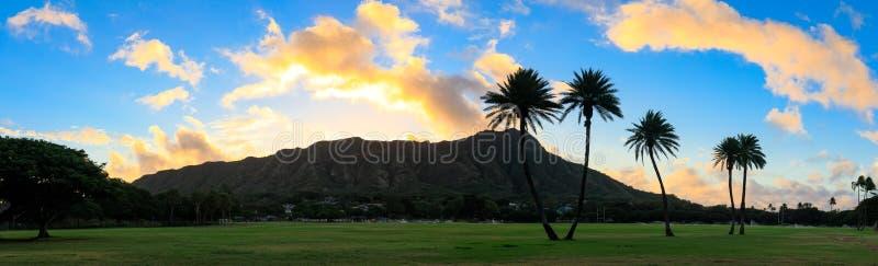Diamond Head bij zonsopgang, Oahu, Hawaï royalty-vrije stock foto