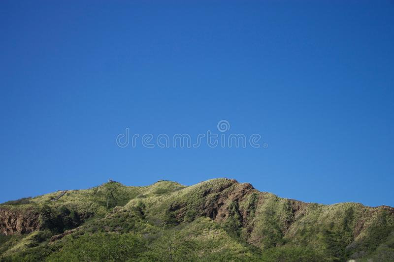 Diamond Head Crater hiking track, Hawaii stock images