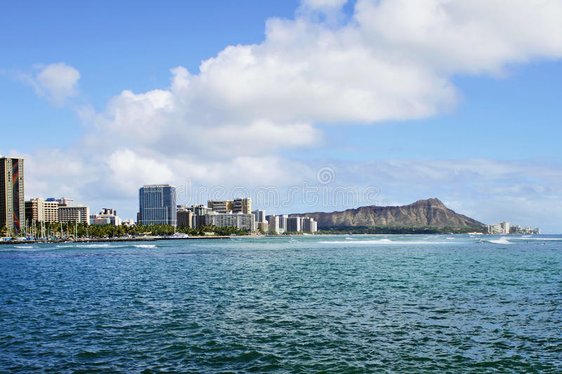 Diamond Head Crater And Waikiki In Honolulu Hawaii Royalty Free Stock Photos