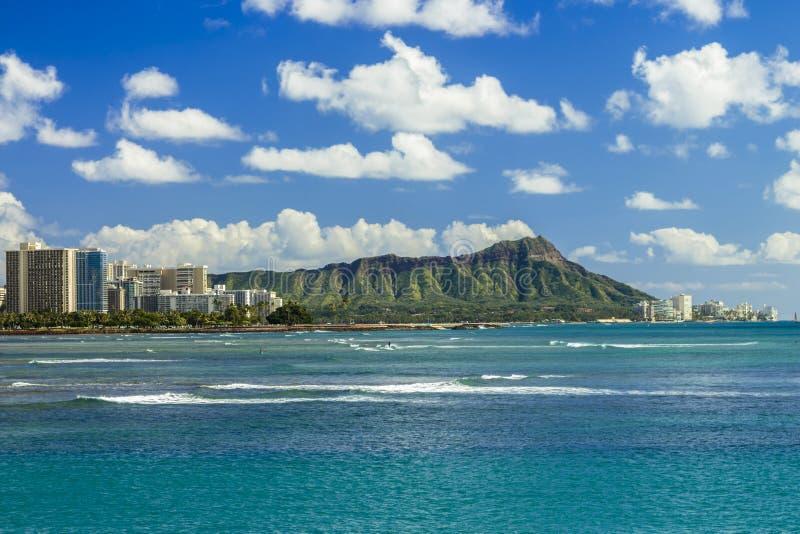 Diamond Head en Waikiki stock afbeelding
