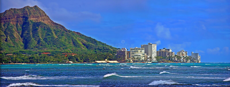 Diamond Head and Honolulu royalty free stock photo