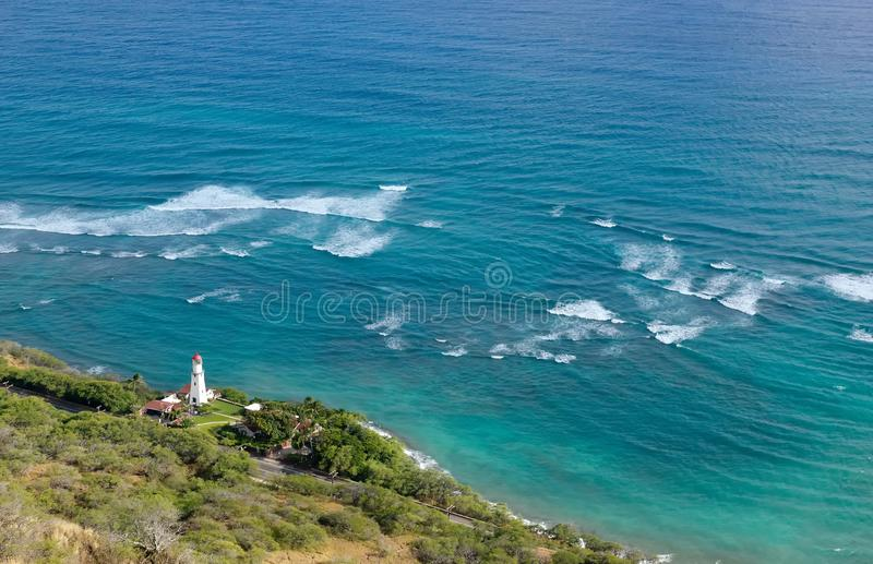 Diamond Head Lighthouse and Coastline in Oahu stock images