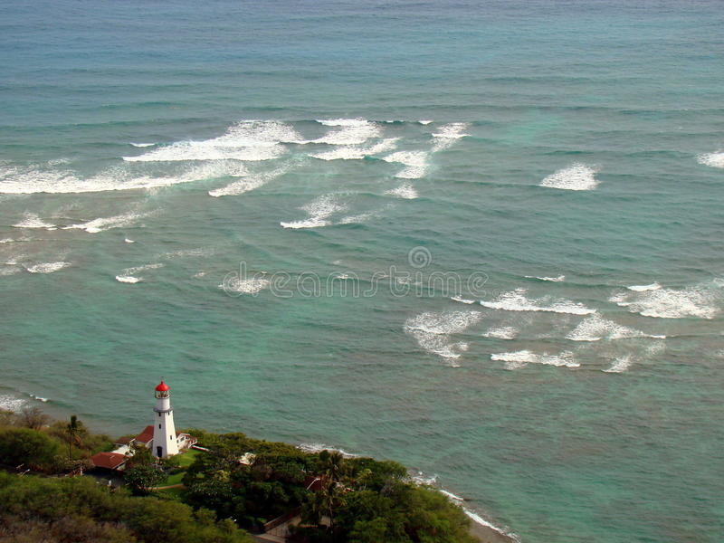 Diamond Head Lighthouse in Honolulu, Hawaii royalty free stock photo