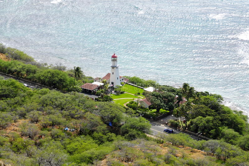 Diamond Head Lighthouse, Oahu stock photography