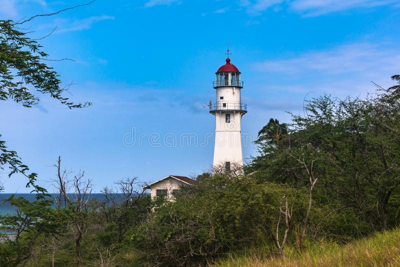 Diamond Head Lighthouse, Oahu, Hawaii royalty free stock photo