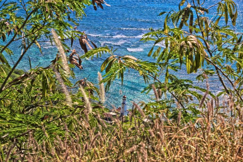Diamond Head Lighthouse Ocean Hawaii stock photo