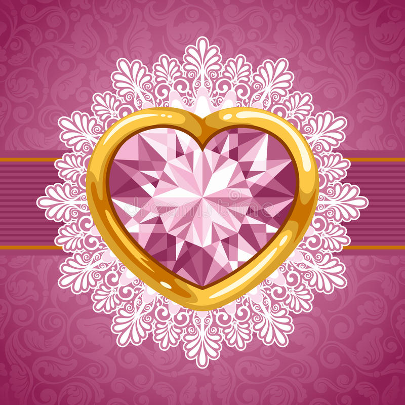 Download Diamond Heart In Golden Frame Stock Vector - Image: 22139652