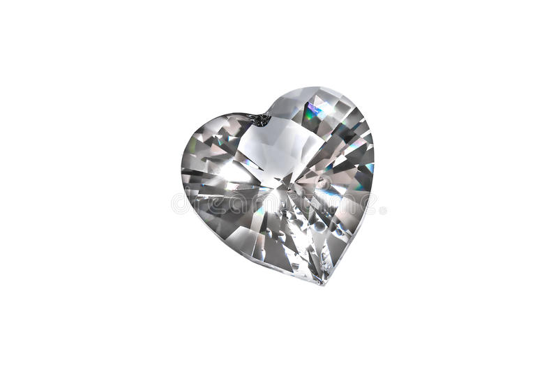 Diamond heart isolated on white background stock images