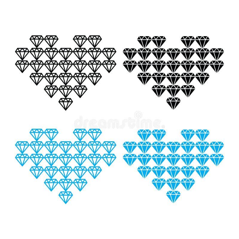 Diamond heart, luxury icons set royalty free illustration