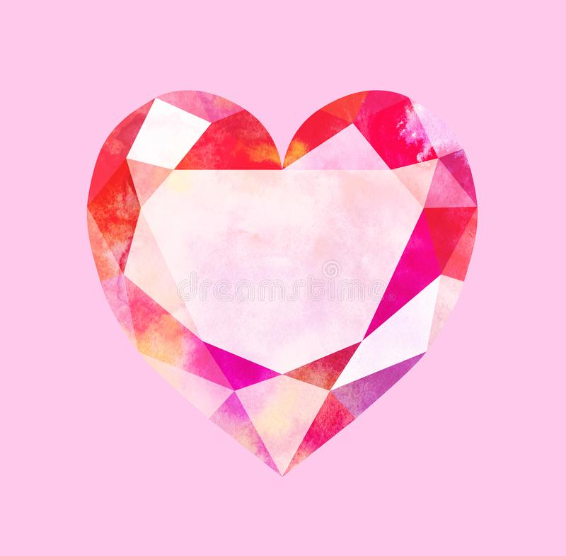 Diamond heart on pink background. Watercolor illustration of low poly heart. royalty free illustration