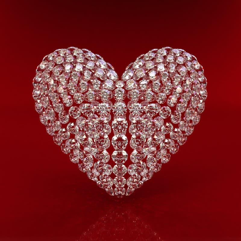 Diamond heart on red background stock photos