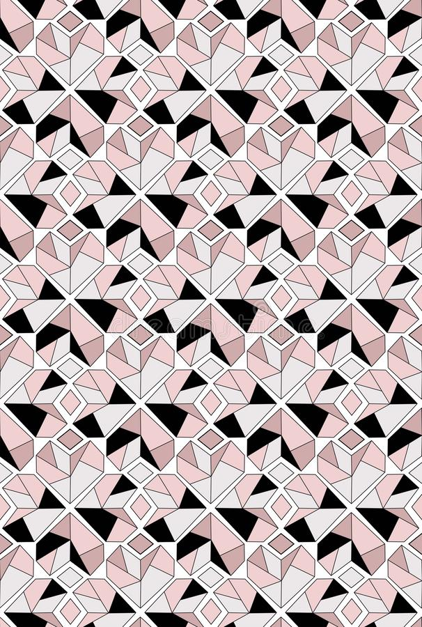 Diamond heart seamless pattern in grey black and pink tones royalty free illustration
