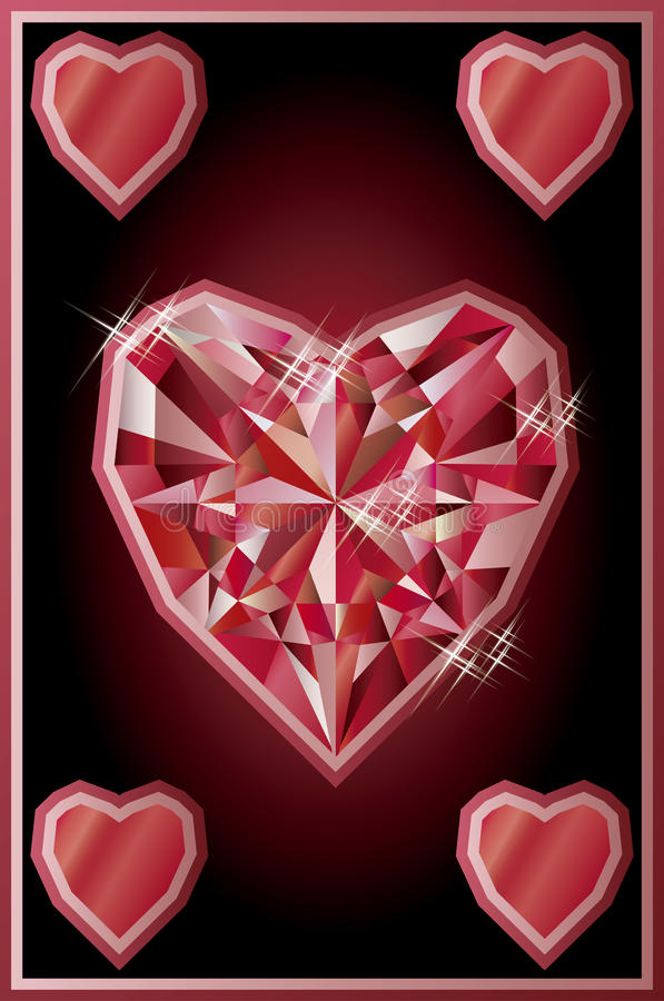 Diamond hearts poker card, vector stock illustration