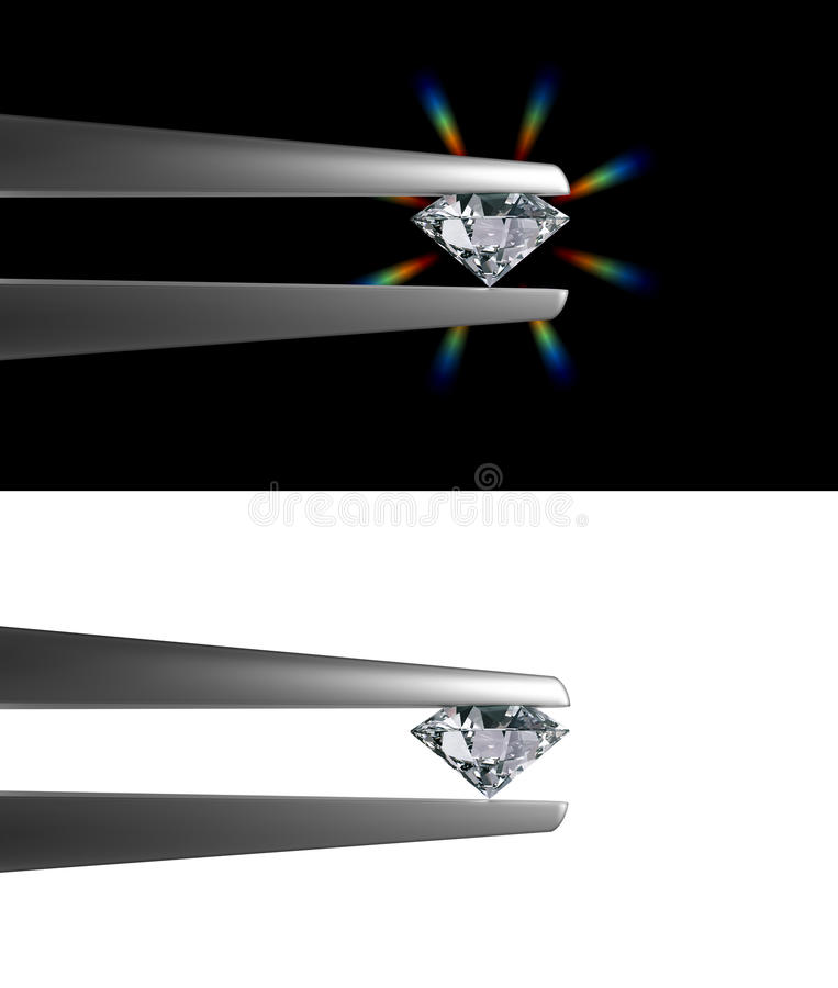 Diamond held by tweezers royalty free illustration