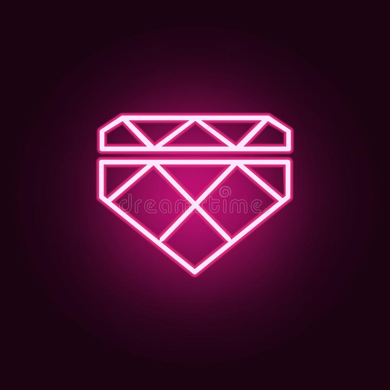 diamond icon. Elements of web in neon style icons. Simple icon for websites, web design, mobile app, info graphics stock illustration