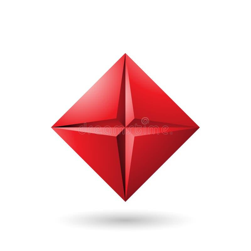 Diamond Icon rouge avec une illustration de vecteur de forme d'étoile photos libres de droits
