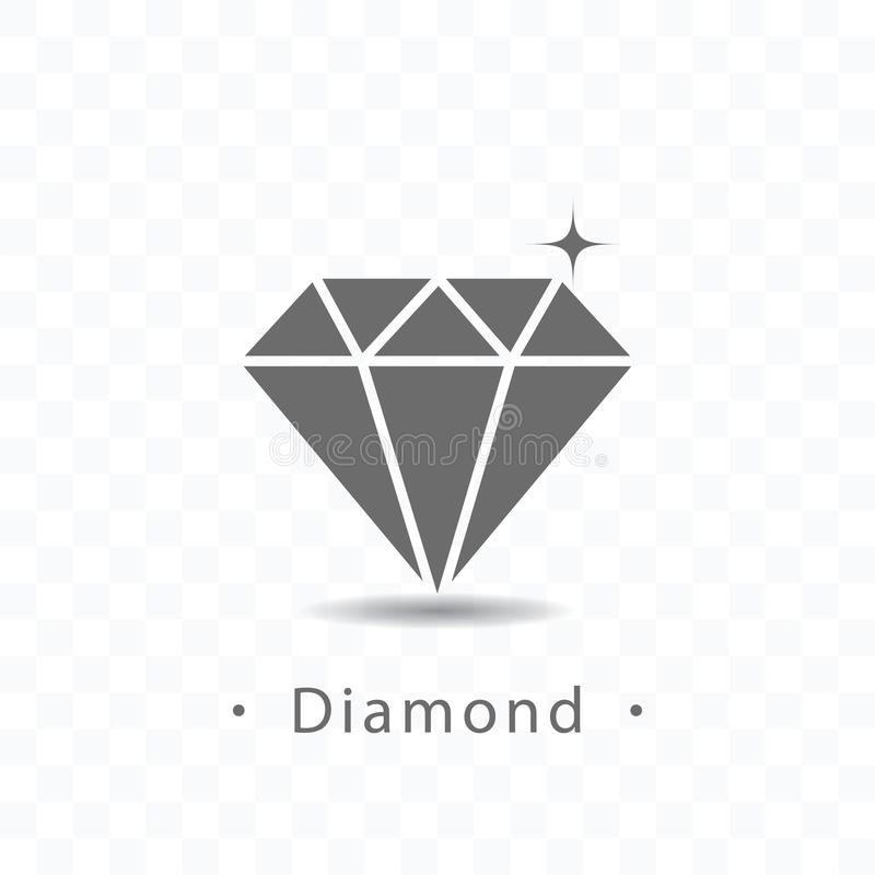 Diamond icon vector illustration on transparent background. stock illustration