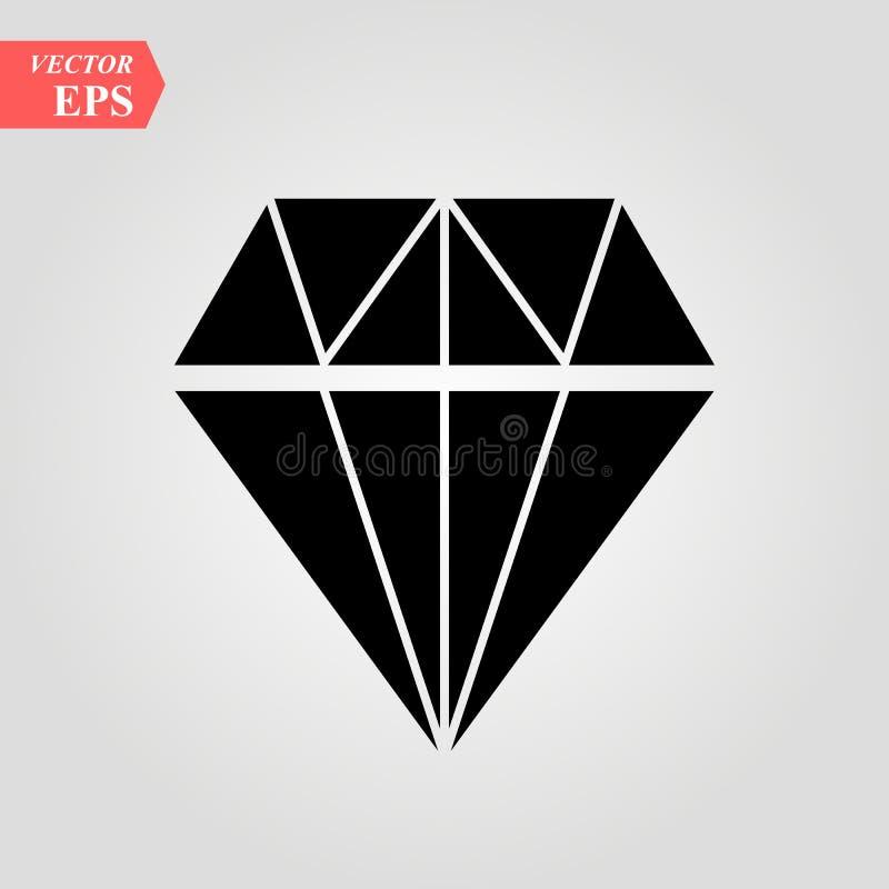 Diamond Icon Vector. Simple flat symbol. Perfect Black pictogram illustration on white background. Eps10 stock illustration