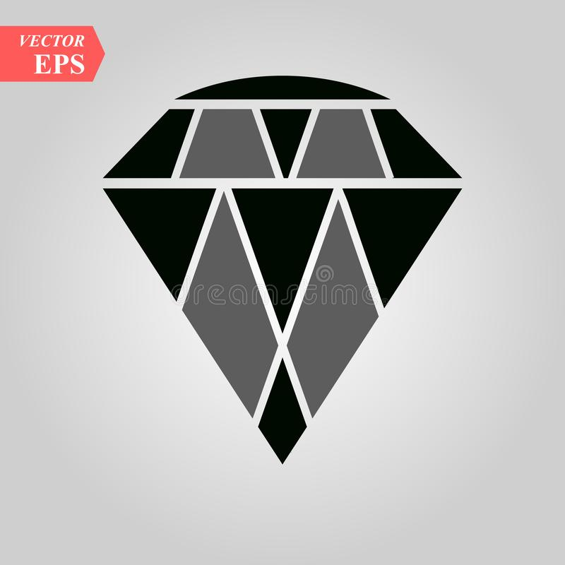 Diamond Icon Vector. Simple flat symbol. Perfect Black pictogram illustration on white background. Eps 10 vector illustration