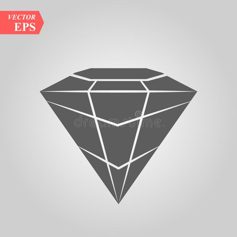 Diamond Icon Vector. Simple flat symbol. Perfect Black pictogram illustration on white background. Eps10 royalty free illustration
