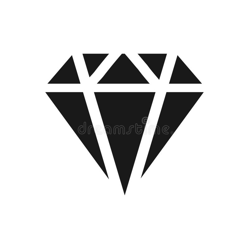 Diamond Icon Vector. Simple flat symbol. Perfect Black pictogram illustration on white background. Eps 10 royalty free illustration