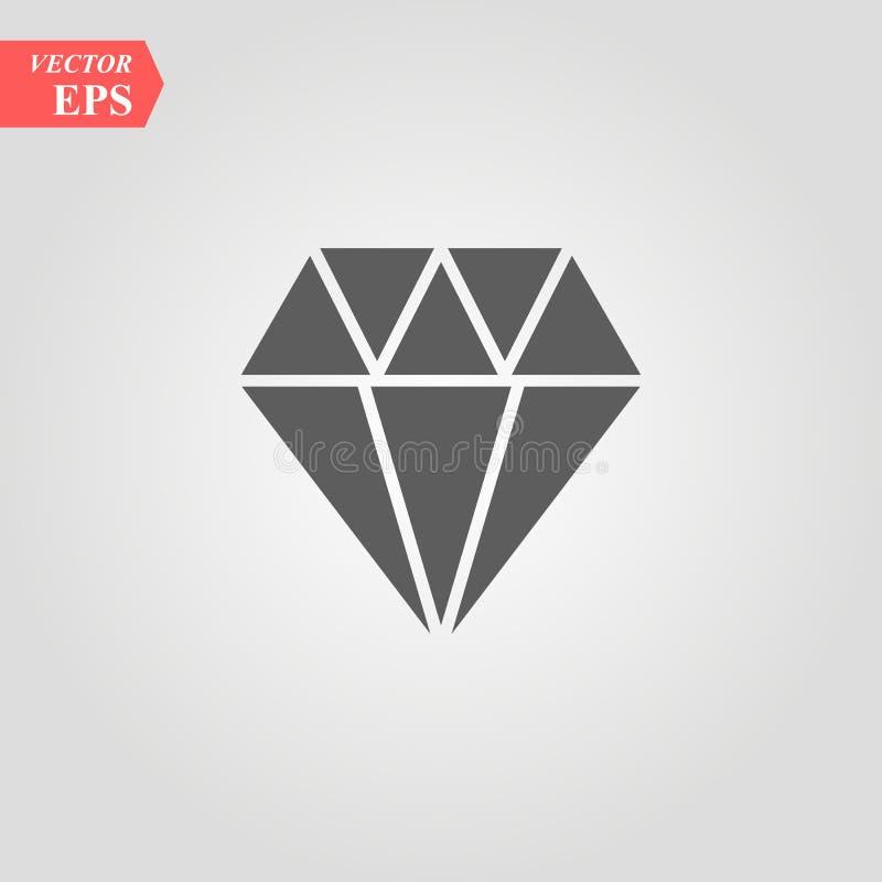 Diamond Icon Vector. Simple flat symbol. Perfect Black pictogram illustration on white background. Eps 10 stock illustration